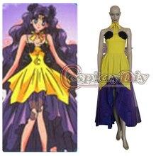 Envío libre sailor moon luna humano amarillo y púrpura dress cosplay para adultos mujeres carnaval y fiesta de halloween dress costume cosplay