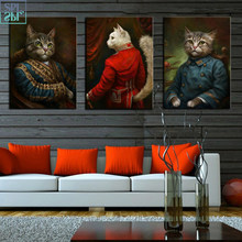 Vintage Style Home Decoration Animals Canvas Painting Cardinal Cat Portrait Posters Hd Print Nordic Wall Art Picture for Bedroom(China)