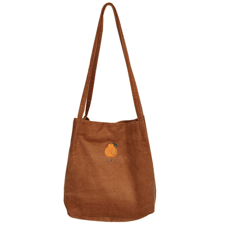 off Arancione Ricamo By81121 Sacchetto Shopping Eco Del Spalla Di White Tote Solido Brown Corduory q671wgxA