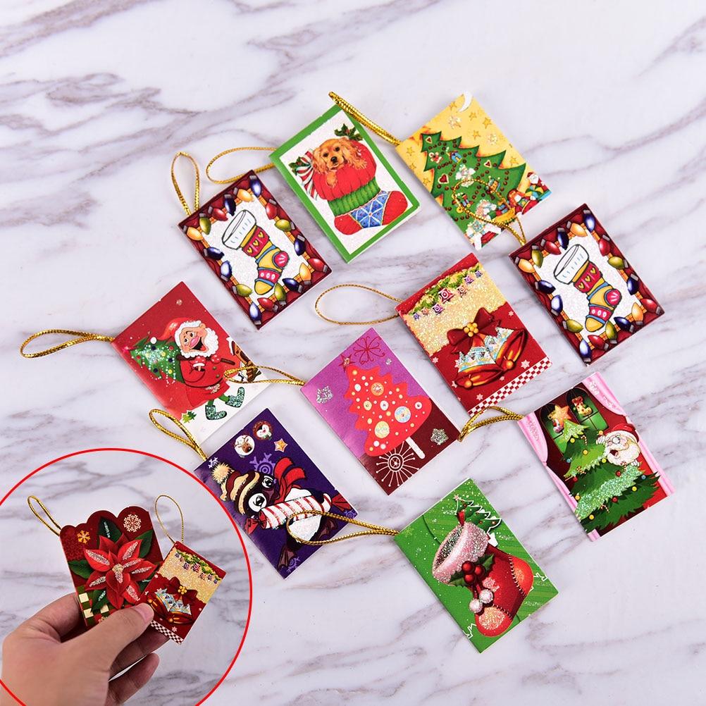 Online Shop 10pcs wholesale Christmas Tree Hanging Card Mini ...