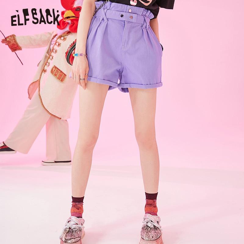 ELF SACK Cotton Denim High Waist Women   Shorts   Fashion Flare Casual Lavender Female   Shorts   2019 Summer Cowboy Waist Belt   Shorts