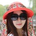 Женская мода Леди Складной УФ-Защитой Neckguard Roll Up Вс Hat Пляж Hat Широкими Полями Козырьком Hat