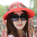 Forme a Mujeres La Señora Plegable UV Protección Neckguard Ruedan Para Arriba el Sombrero Del Sol de Playa Sombrero de Ala Ancha Sombrero de Visera