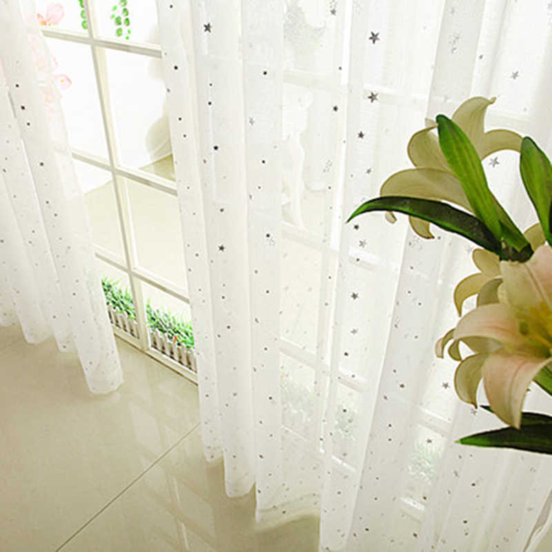 White Silver Stars Curtain Tulle for living Room Bedroom Kids Window Screening Panel Sheer Voile Curtains Draperies wp234&30