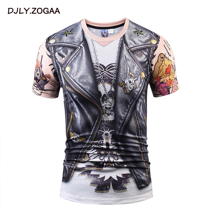 ZOGAA 2019 Summer New Creative Digital Fake Two Pieces PU Leather 3D Printing T-Shirt Short-Sleeved Men's Clothing