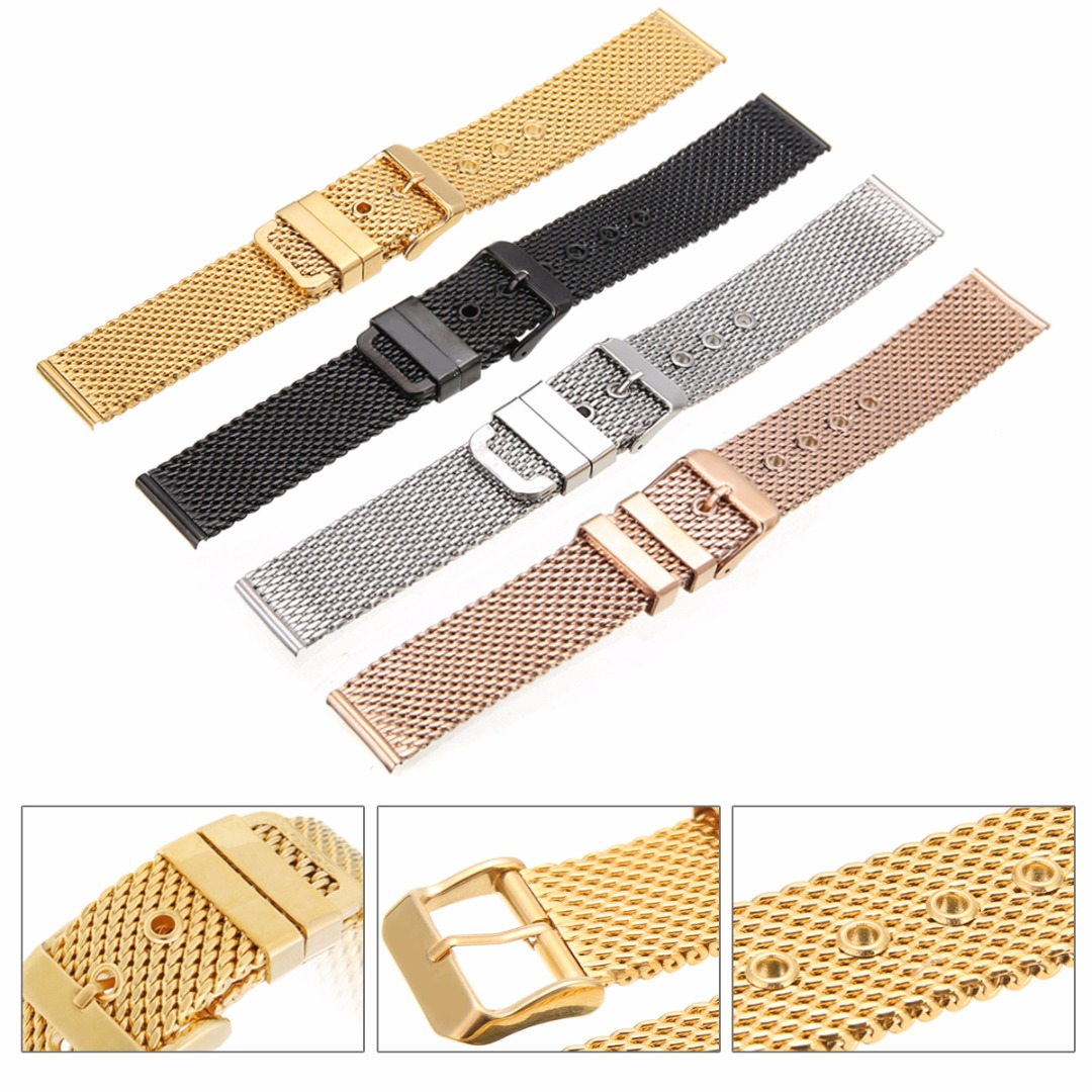 Stainless Steel Watch Strap 18mm/20mm/22mm/24mm Straight End Pin Buckle Mesh Watch Band Black Rose Gold Replacement Watchbands new mens rose gold watch band 16mm 18mm 20mm 22mm 24mm silver black stainless steel watch band strap straight end bracelet