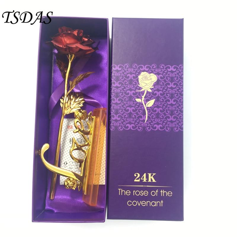25CM rdeča barva 24k zlata folija vrtnica cvet namočena dolge - Prazniki in zabave - Fotografija 2