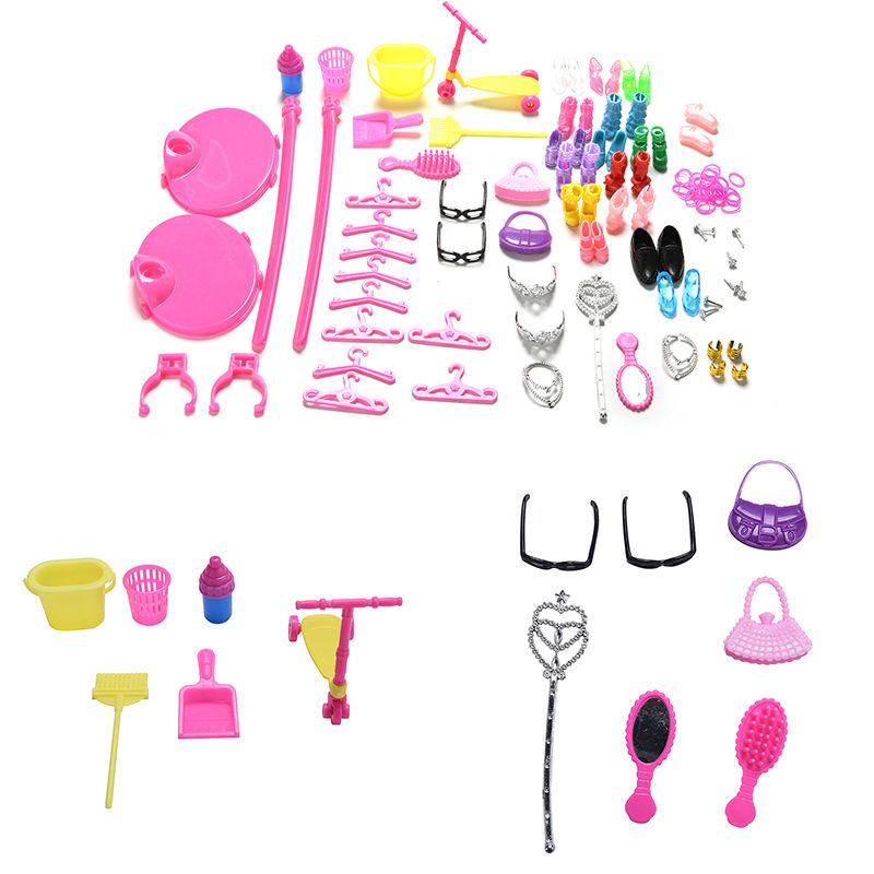1 Set Shoes Bag Mirror Hanger Comb Furniture For Barbie Dolls Accessories Set for Barbie Toys Child Gifts For Girls Wholesale