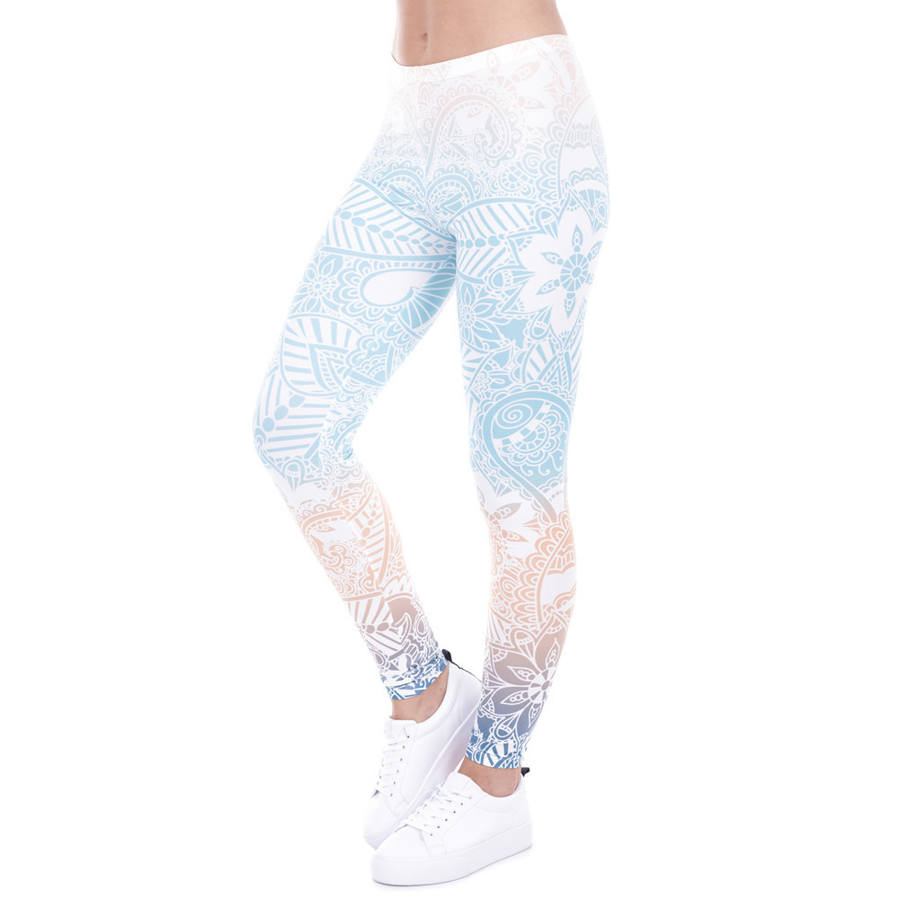 Brand Hot Sales Leggings Mandala Mint Print Fitness Legging High Elasticity Leggins Legins Trouser Pants For Women