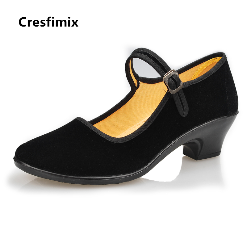 Cresfimix zapatos de mujer women casual black cloth dance shoes woman's fashion buckle strap summer shoes female cool shoes cresfimix women fashion
