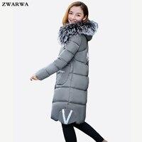New Arrival Fashion Female Warm Big Fur Collar Coats Long Outerwear Ukrainian Winter Jacket Women Cotton