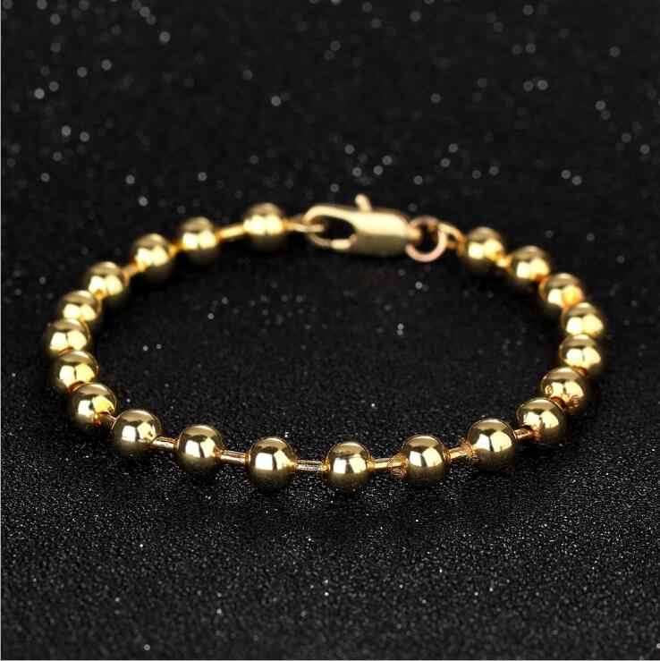 Hot Trendy Gold Filled 316L Stainless Steel Beads Bracelets Female Women Bangles Jewelry Bracelet Gold Color 18 K Stamped