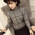 2017 spring winter sweaters women checked turtleneck Loose knitted thick pullover feminine pull femme