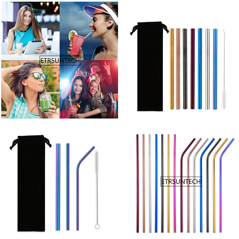 100set lot Eco Friendly Reusable Straw 304 Stainless Steel Straw Metal Smoothies Drinking Straws Set with
