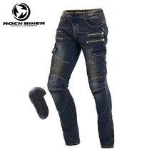 Harley Motocicleta Jeans Casual Calças à prova de vento masculinos Wearable Moto Motocross Off-Road Joelho Protetor Moto Calças Jeans