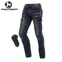 Windproof Harley Motorcycle Jeans Casual Pants Wearable Men's Motorbike Motocross Off Road Knee Protective Moto Jeans Trousers