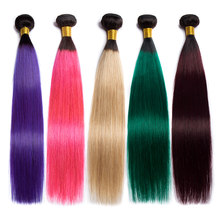 ALIBELE Ombre Hair Bundles Brazilian Straight Hair Weave Bundles 1b 27 30 350 99j pink green blue Remy Human Hair Extensions(China)