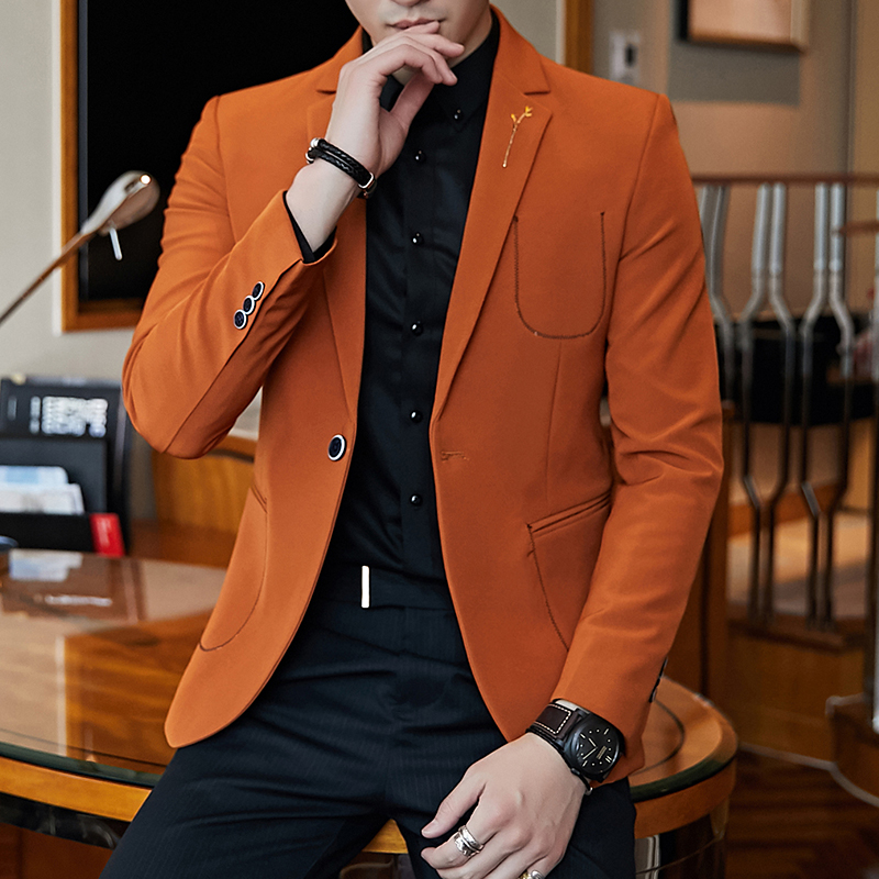 Brand Elegant Men Blazer 2019 Orange Black Mans Casual Blazer Slim Fit Masculino Single Button Mens Vintage Blazers Jacket Q522