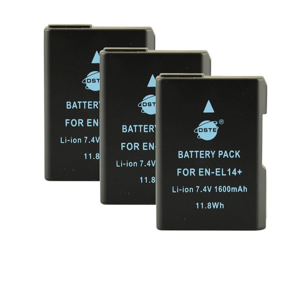 DSTE 3pcs EN-EL14 Rechargeable Battery for Nikon D3100 D3200 D5100 D5200 P7000 P7100 P7200 P7700 P7800 D3400 D5600 original en el14a en el14a el14 rechargeable battery for nikon df d5300 d5200 d5100 d3300 d3200 d3100 p7100 p7700 p7800 p7000