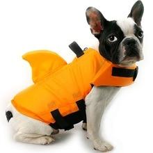Акула собака спасательный жилет безопасности одежда ПЭТ спасательный жилет летом собака плавание одежды Французский бульдог Fin куртка играть в море