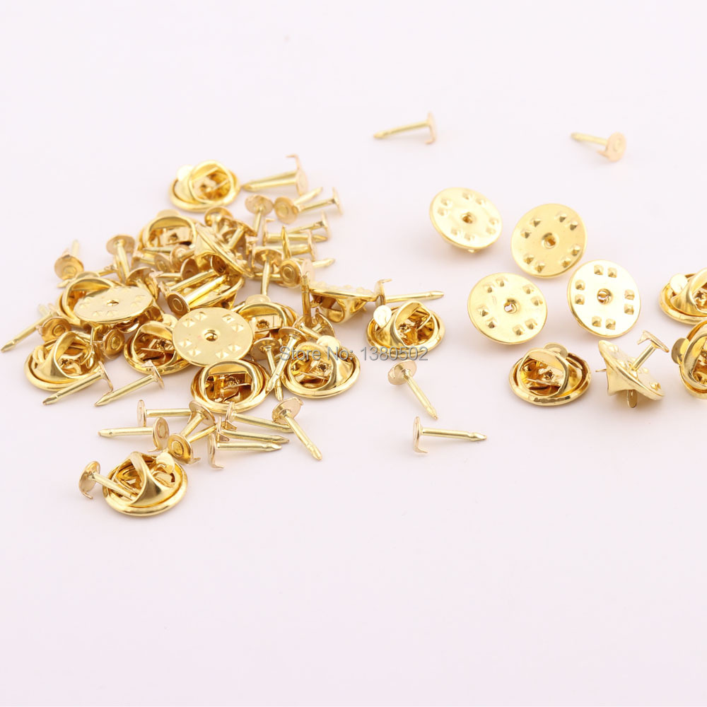 Jewelry Brass Butterfly Clutch Metal Uniform Pin Badge Insignia Clutches Backs with 15mm pins Gold