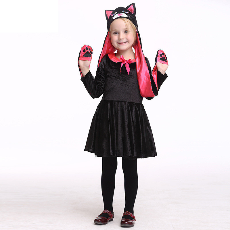 Kids Baby Girls Cat Pattern Cosplay Tutu Dress with Hat Carnival Party Fancy Costume Halloween Stage Performance Vestido Cloth european style halloween show skeleton dress kids girls carnival fancy costume baby tutu party children cosplay vestido cloth
