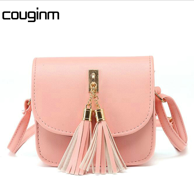 купить COUGINM Hot Fashion Small Chains Bag Women Candy Color Tassel Messenger Bags Female Handbag Shoulder Bag недорого