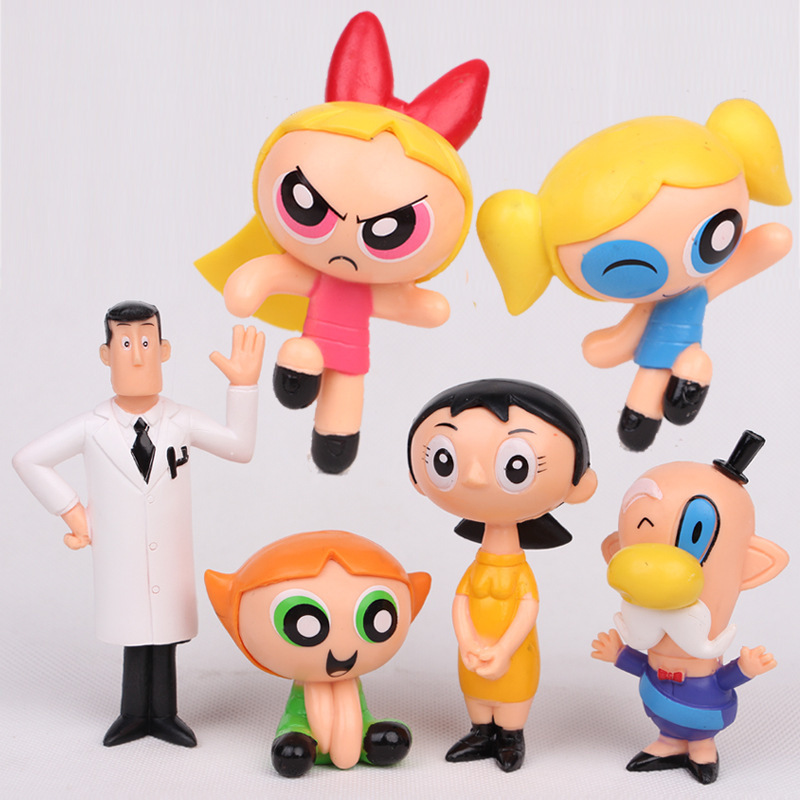 6 Pcs/set The Powerpuff Girls Action Figure Toys Cute Cartoon Blossom Bubbles Buttercup Model PVC Dolls Kids Christmas Gift 儿童文学 十大青年金作家丛书 风居住的街道