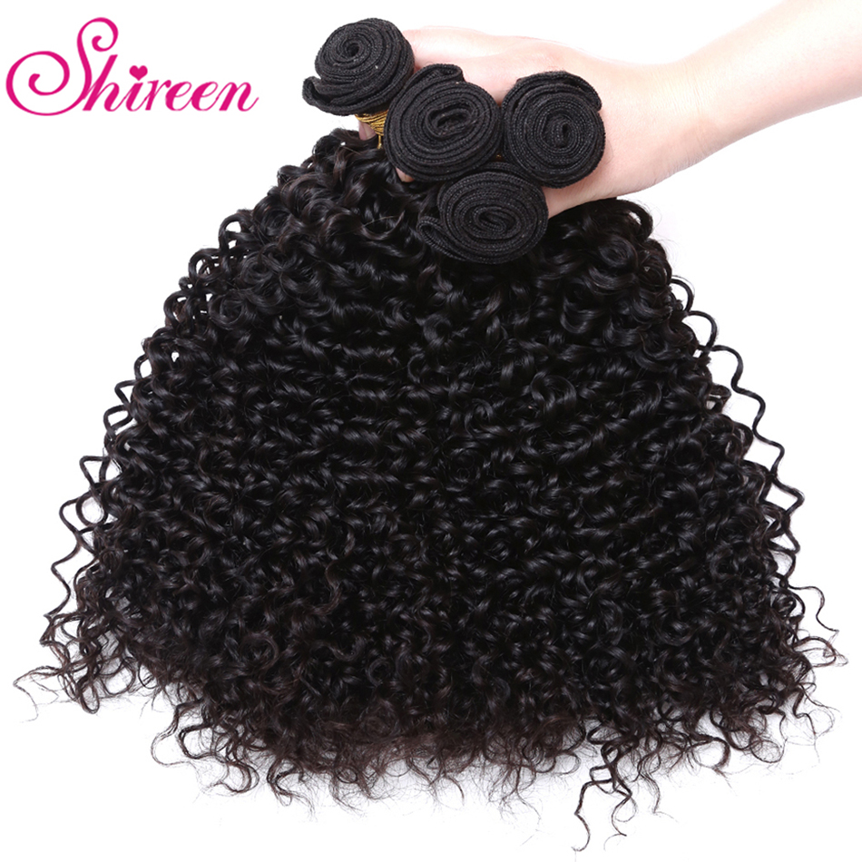 Shireen Brazilian Afro Kinky Curly Human Hair Weave Bundles with Closure Natural Color Remy Kinky Curly 3 Bundles with Closure