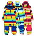 Kinderen soft shell plus fluwelen geïntegreerde winddicht en regendicht jumpsuit kinderen waterdicht jumpsuit, warm jumpsuit,