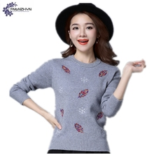 TNLNZHYN Women clothing high-end sweater tops autumn new fashion Plus size leisure long-sleeved warm Female knitting sweaterWL88