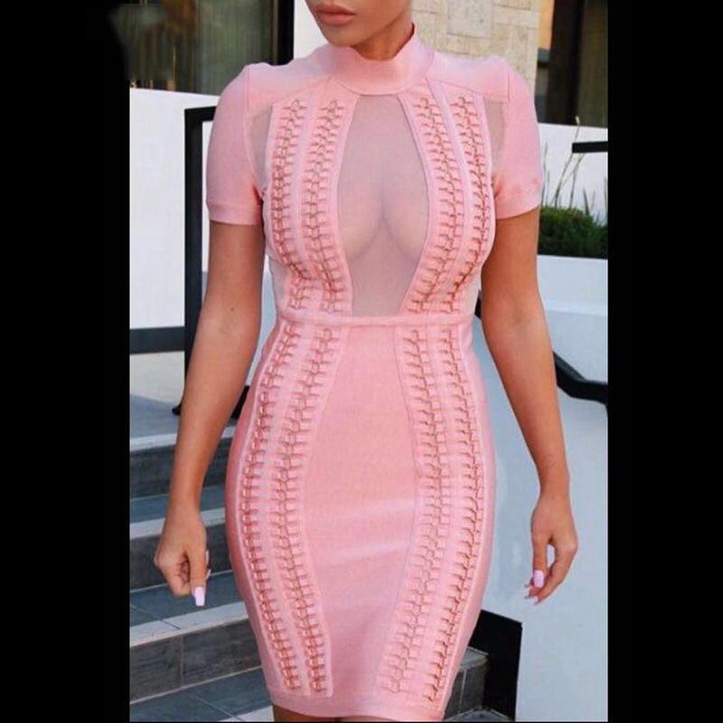 Seamyla 2019 Summer Dress For Women Short Sleeve Mesh Bodycon Bandage Dresses Hight Neck Sexy Evening Party Dresses Vestidos