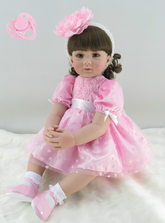 60cm Silicone Reborn Baby Doll Toys Lifelike 24inch Vinyl Pink Princess Toddler Babies Dolls Kids Birthday Gift Collectable doll silicone vinyl reborn baby doll toys lifelike soft doll reborn babies pink princess toys for childs kids new design