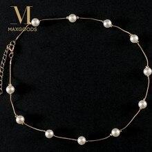 9b6aadd39159 1 piezas New Chic imitación perla collares y colgantes dos tonos Retro  gargantilla collar regalo para los amigos joyería de las .
