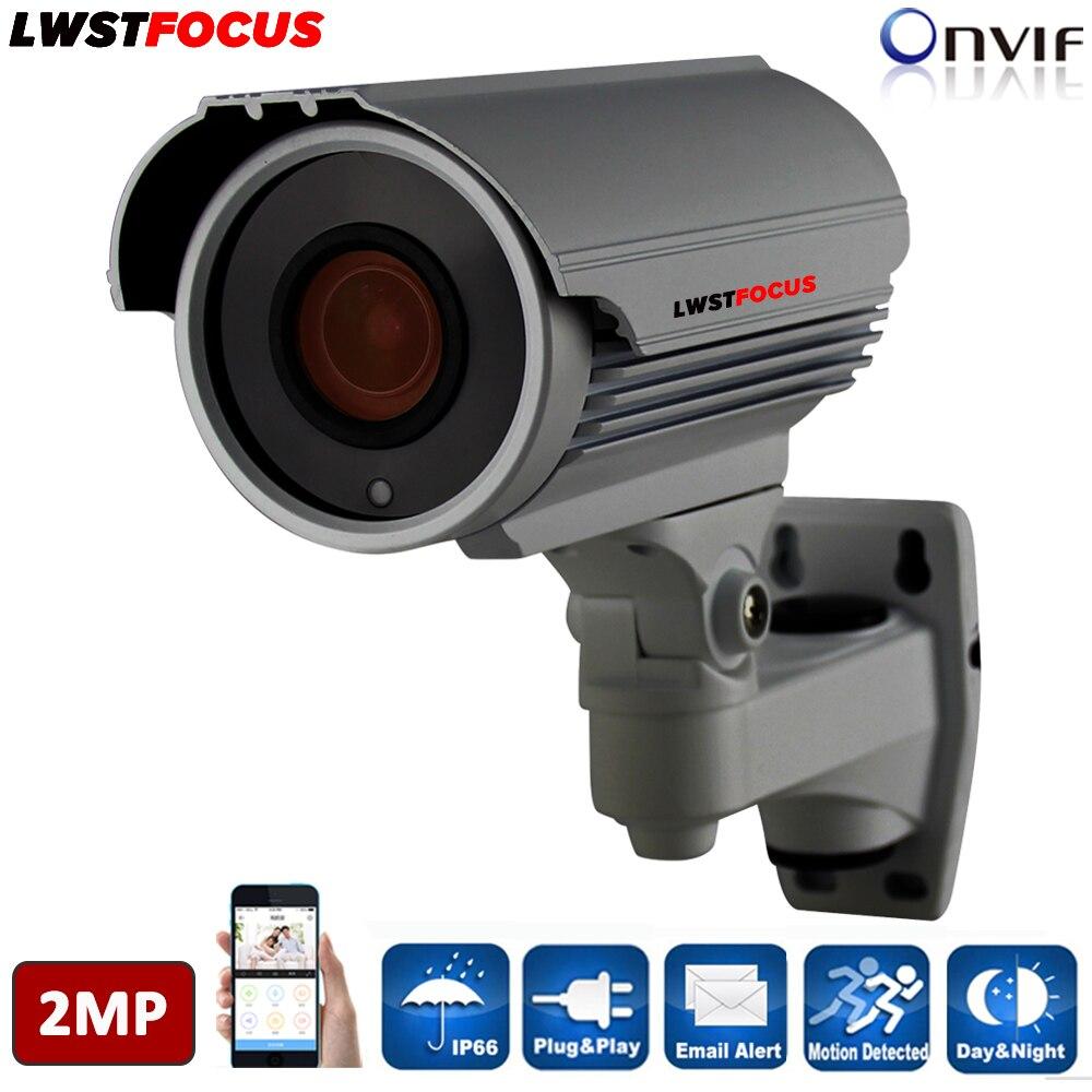 LWSTFOCUS H.264/H.264+ 2.8-12mm Manual Zoom Lens 2MP IP Camera Outdoor FULL HD 1080P CCTV Camera Waterproof Outdoor IP Camera 12x zoom camera lens telescope for samsung galaxy s5 silver
