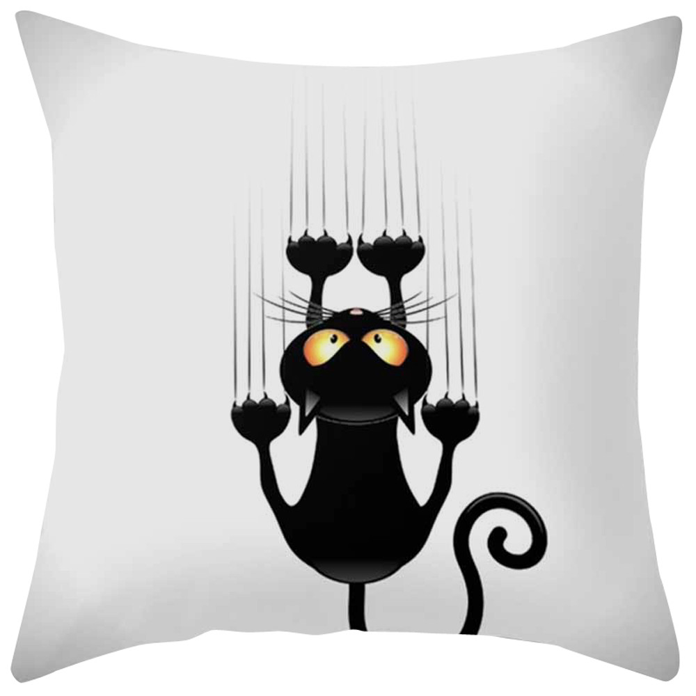 Black Cat Animal Pattern Cover Pillow Case Fabric Printing Pillowcase Decorative Cushion Home Decor coussins decoratif coussin