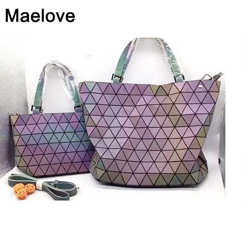615d489b8b2e Maelove luminous bag 2019 New bag-Women Geometry Handbag Shoulder Bags  Laser Plain Folding Totes