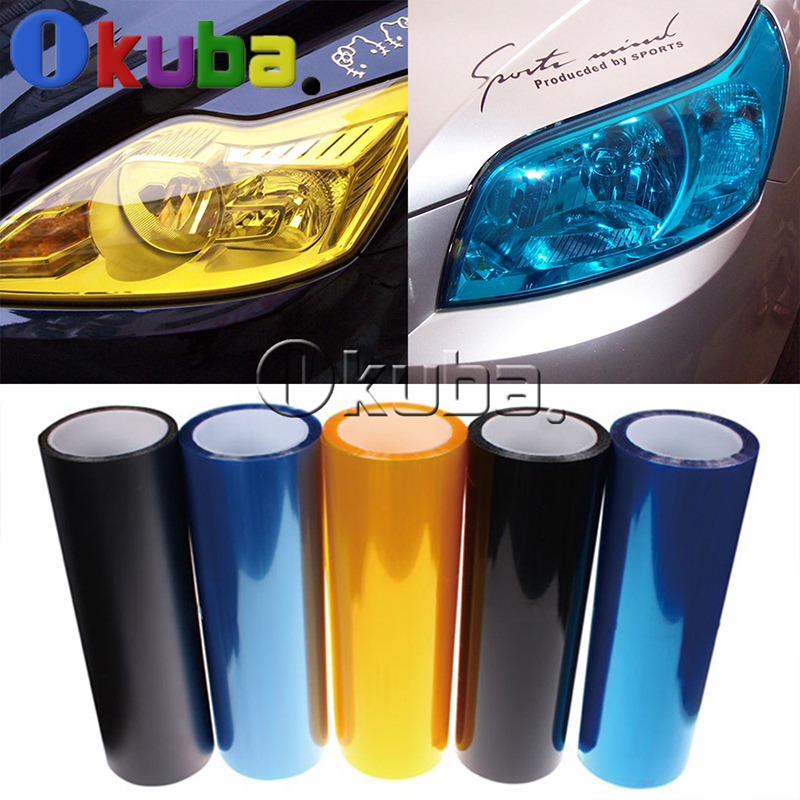 Wholesales 12 Colors 4 Rolls/Lot Auto Car Light Headlight Taillight Tint Vinyl Film Sticker Free Shipping Size:60cm*10m