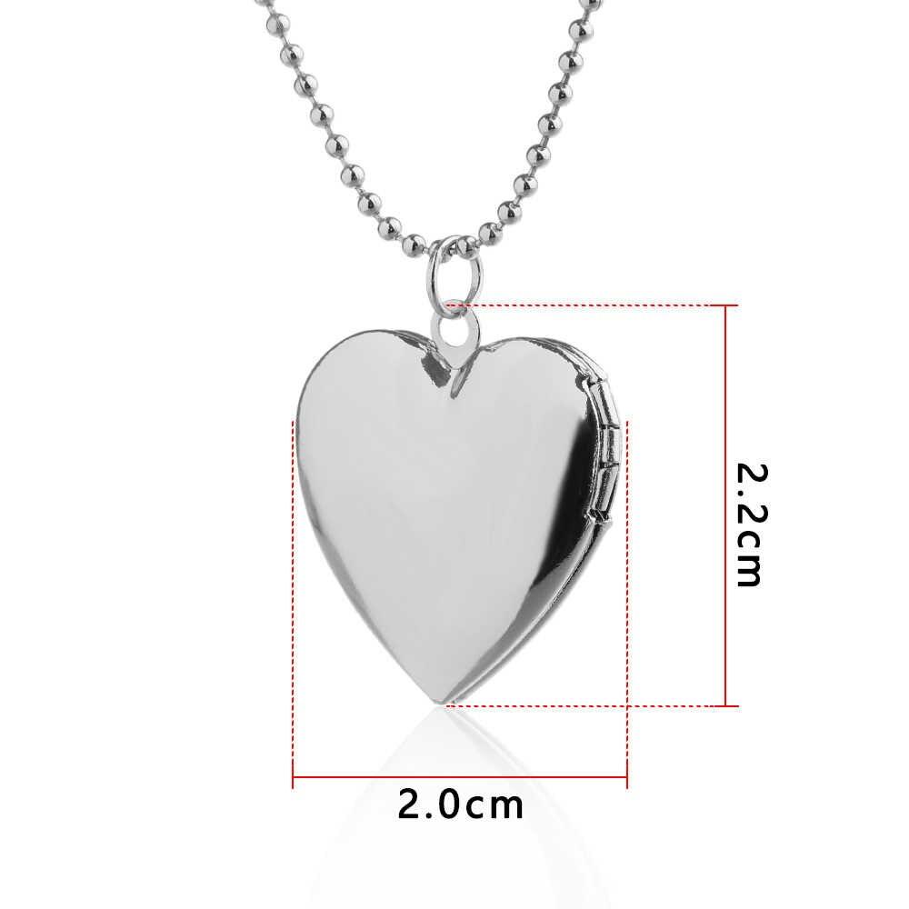 1 قطعة الفضة/ارتفع الذهب على شكل قلب صورة إطار الصورة المنجد سلسلة بدلاية قلادة مجوهرات هدايا اكسسوارات لصديق عاشق