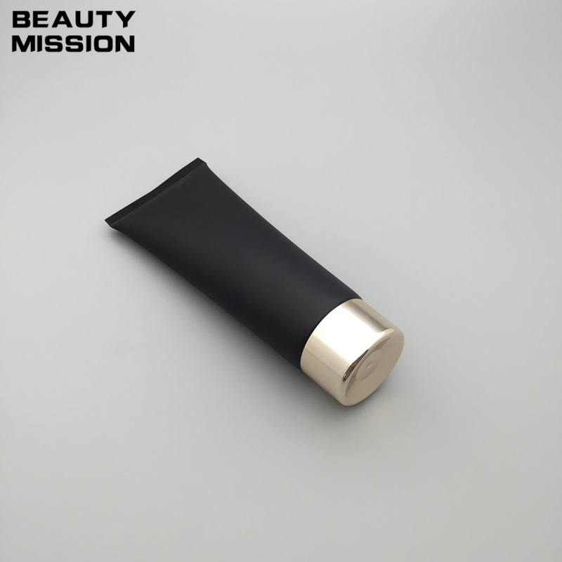 50pcs 120g Empty Black Soft Refillable Plastic Lotion Tubes Squeeze Cosmetic Packaging Cream Tube Screw