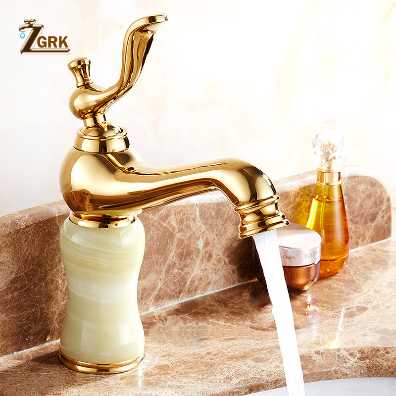цена на Marble faucet hot and cold basin jade taps full copper Golden lavatory faucet marble stone gold basin faucet