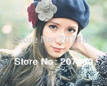 Wholesale retail ladies''s fashion sweet flower soft wool hat Beanies Cap Autumn Spring Winter mulit color option whcn