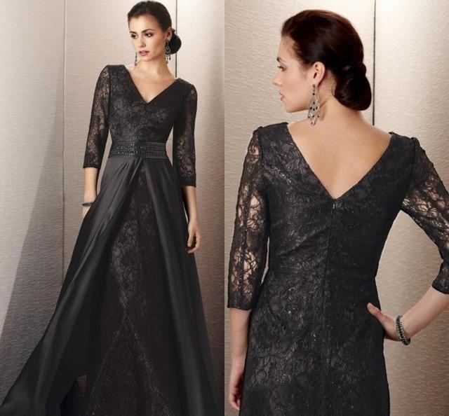 Black Lace Custom Made Plus Size Mãe de Manga Longa do vintage dos Vestidos de Noiva Fatos de Calça Mãe Das Noivas Vestidos para casamentos