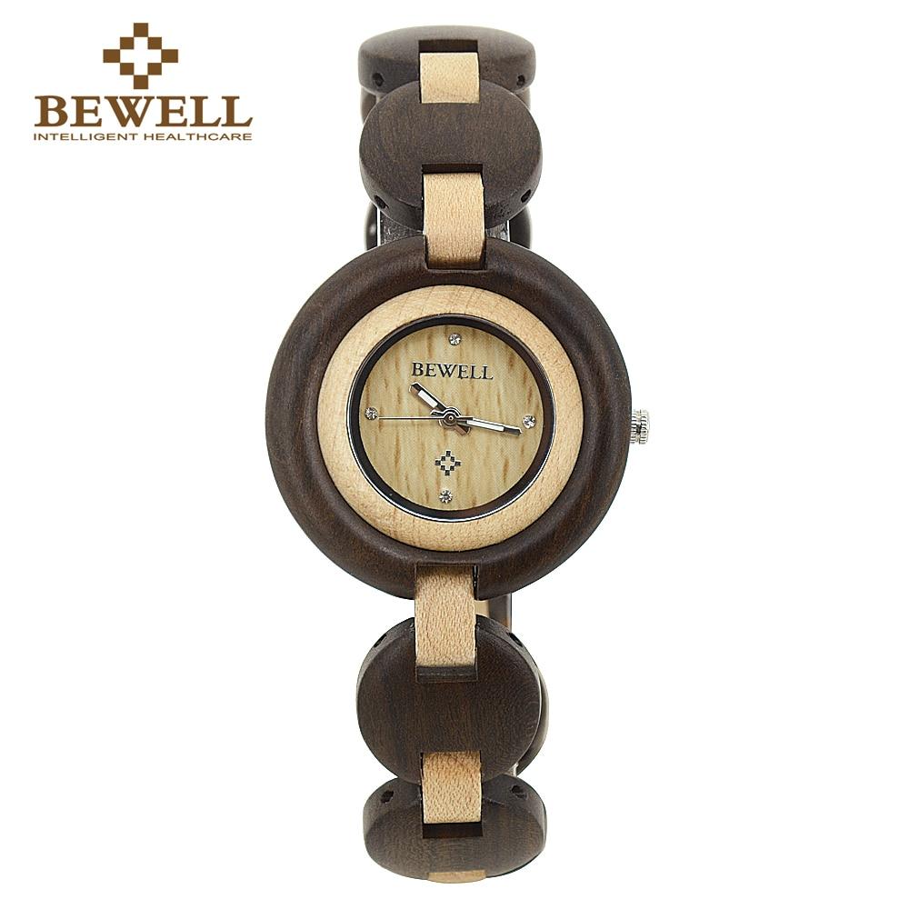 где купить BEWELL 2018 Newest Wooden Watch for Women Japan Quartz Wristwatch Slim Bracelet for Girl Brand Design Lightweight Watches W010A по лучшей цене