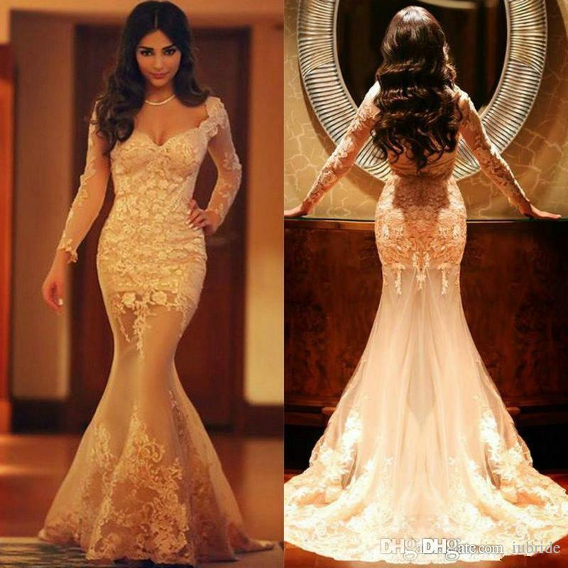 7befbb0c4f1ec 2016 Prom Dresses Long Sleeves Sexy Trumpet Arabic Dress Champagne Long  Evening Gowns Appliques Occasion Dresses