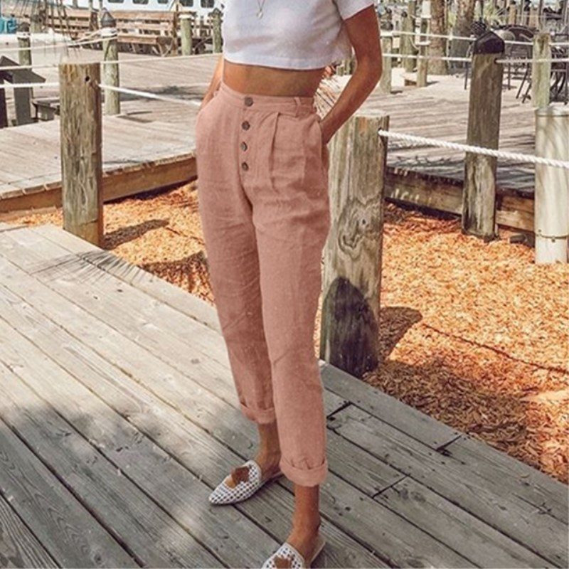 Bigsweety New Women Harem Pants Casual High Waist Elastic Pants Button Pocket OL Work Trousers Ankle-length Long Pants
