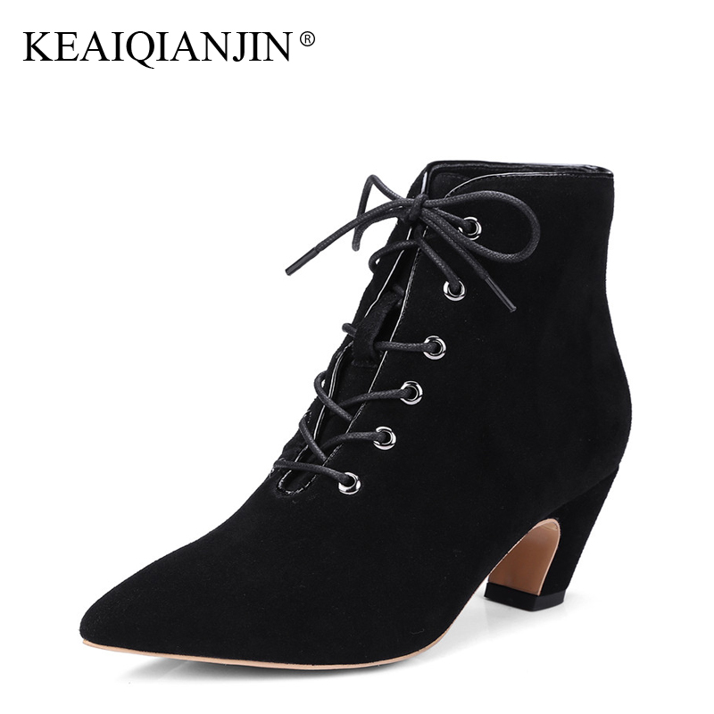 KEAIQIANJIN Woman Lace Up Ankle Boots Autumn Winter Plus Size 33 - 43 High Heel Shoes Genuine Leather High Hee Pointed Toe Boots odetina fashion genuine leather ankle boots flat woman round toe platform lace up boots autumn winter casual shoes big size 43