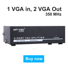 MT-VIKI 350Mhz 2 Port VGA Video Splitter Distributor 1 int to 2 Out support widescreen LCD Monitor Projector Maituo MT-3502