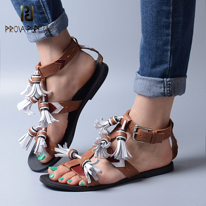Prova Perfetto Mixed Color Tassel Flat Shoes Women Gladiator Casual Neutral Woman Sandals Genuine Leather Open Toe Sandal Brown vankaring women summer boots leather sandals new 2018 fashion flat heel open toe rhinestones casual shoes woman gladiator sandal