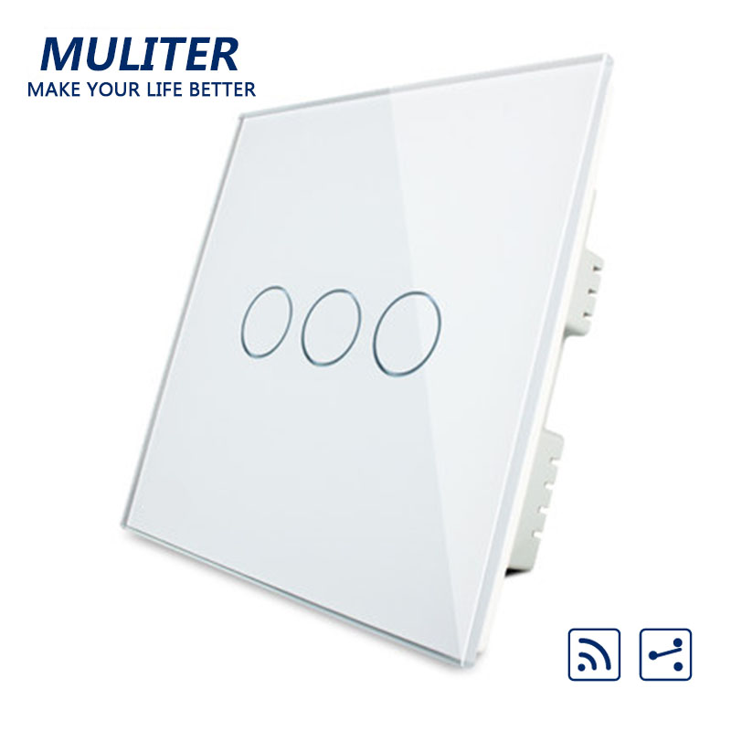 UK Standard Crystal Glass Panel Smart Touch Wall Light Switch 3 Gang 2 Way Wireless Remote Control Light Switch new arrivals remote touch wall switch uk standard 1 gang 1way rf control light crystal glass panel china